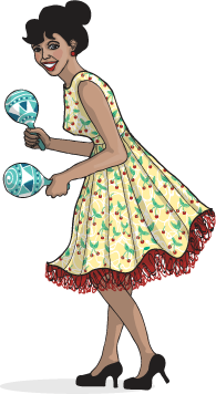 Salsa dancer with maracas